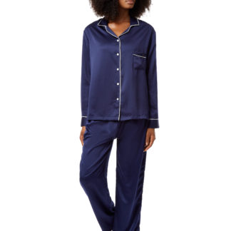 Bluebella Claudia Shirt and Trouser Satin Pyjama Set Navy Cream