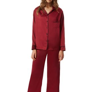bluebella claudia cordovan red satin pyjamas